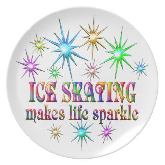 Ice Skating Sparkles Party Plate