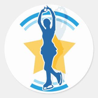 Ice Skating Star Classic Round Sticker