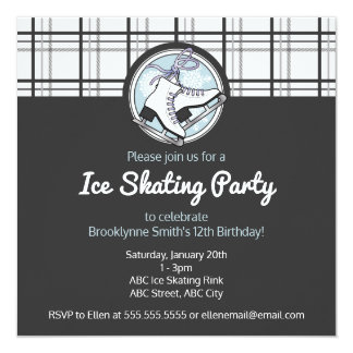 Ice Skating Tartan Cute Birthday Party Invitation