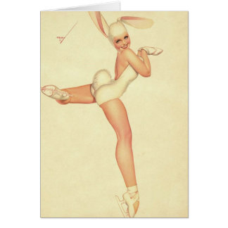 Ice-Skating Vintage Pinup in Rabbit Costume Card