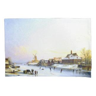 Ice Skating Windmill Holland Winter Fun Pillowcase