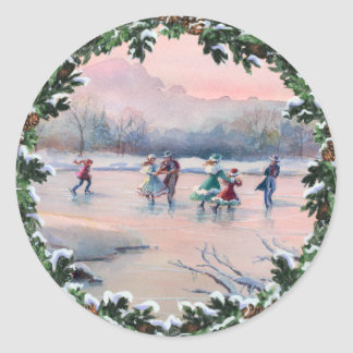 ICE SKATING & WREATH by SHARON SHARPE Classic Round Sticker