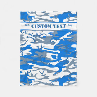 Ice Water Blue Camo w/ Custom Text Fleece Blanket