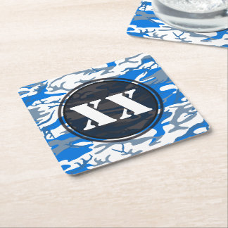 Ice Water Blue Camouflage Coaster w/ Text
