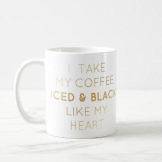 Iced & Black, Gold Text Mug
