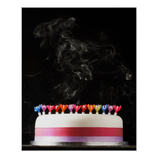 Iced cake with smoking melted happy birthday poster