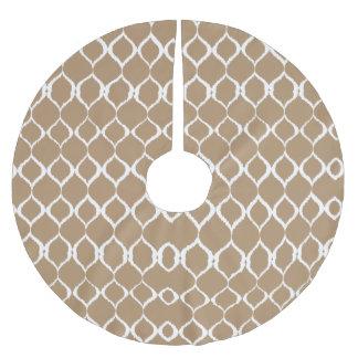 Iced Coffee Geometric Ikat Tribal Print Pattern Brushed Polyester Tree Skirt