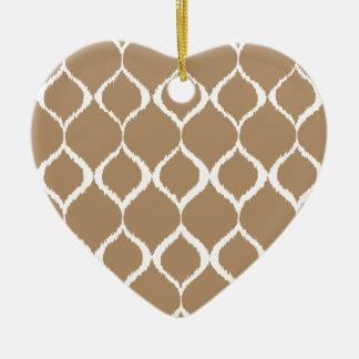 Iced Coffee Geometric Ikat Tribal Print Pattern Ceramic Heart Decoration