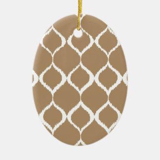 Iced Coffee Geometric Ikat Tribal Print Pattern Ceramic Oval Decoration