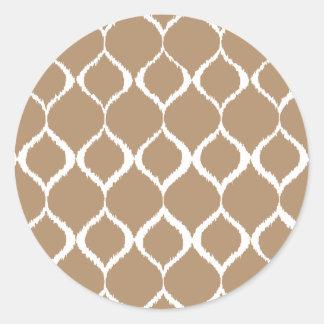 Iced Coffee Geometric Ikat Tribal Print Pattern Classic Round Sticker