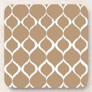 Iced Coffee Geometric Ikat Tribal Print Pattern Coasters