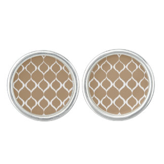 Iced Coffee Geometric Ikat Tribal Print Pattern Cuff Links