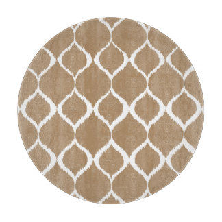 Iced Coffee Geometric Ikat Tribal Print Pattern Cutting Board