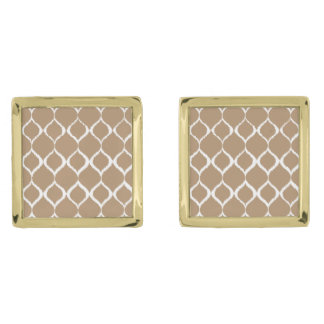 Iced Coffee Geometric Ikat Tribal Print Pattern Gold Finish Cuff Links