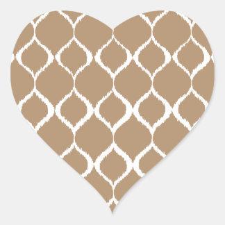 Iced Coffee Geometric Ikat Tribal Print Pattern Heart Sticker