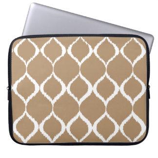 Iced Coffee Geometric Ikat Tribal Print Pattern Laptop Sleeve