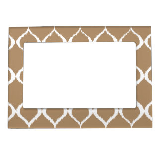 Iced Coffee Geometric Ikat Tribal Print Pattern Magnetic Picture Frame