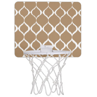 Iced Coffee Geometric Ikat Tribal Print Pattern Mini Basketball Hoop