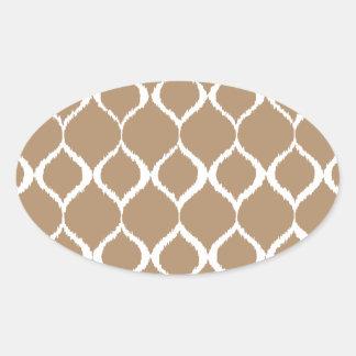 Iced Coffee Geometric Ikat Tribal Print Pattern Oval Sticker