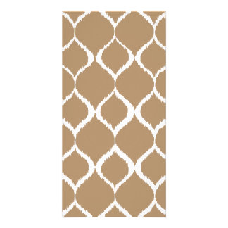 Iced Coffee Geometric Ikat Tribal Print Pattern Picture Card