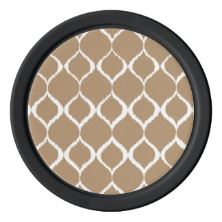 Iced Coffee Geometric Ikat Tribal Print Pattern Poker Chips
