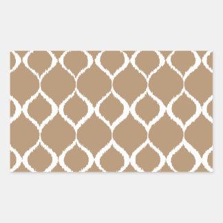 Iced Coffee Geometric Ikat Tribal Print Pattern Rectangular Sticker