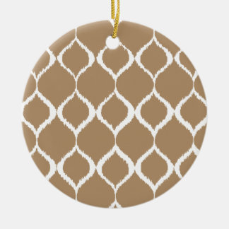 Iced Coffee Geometric Ikat Tribal Print Pattern Round Ceramic Decoration