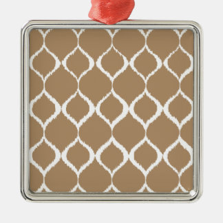 Iced Coffee Geometric Ikat Tribal Print Pattern Silver-Colored Square Decoration