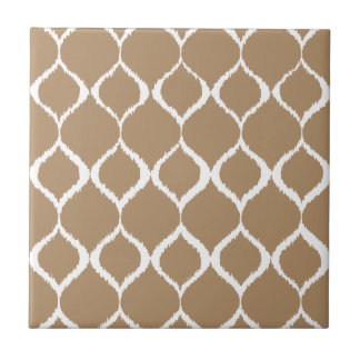 Iced Coffee Geometric Ikat Tribal Print Pattern Small Square Tile