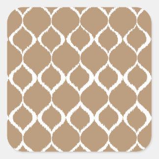 Iced Coffee Geometric Ikat Tribal Print Pattern Square Sticker