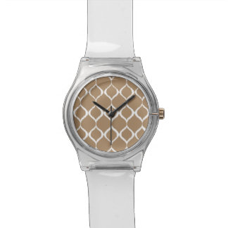 Iced Coffee Geometric Ikat Tribal Print Pattern Watch