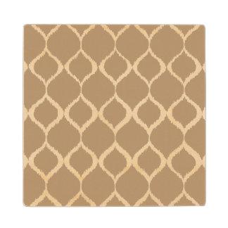 Iced Coffee Geometric Ikat Tribal Print Pattern Wood Coaster