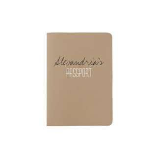 Iced Coffee Neutral Brown Tan Solid Color Custom Passport Holder