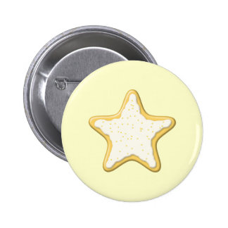 Iced Star Cookie. Yellow and Cream. Button