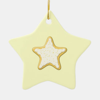 Iced Star Cookie Yellow and Cream Christmas Ornament