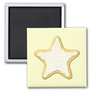 Iced Star Cookie Yellow and Cream Magnets