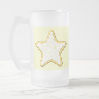 Iced Star Cookie. Yellow and Cream. Frosted Glass Mug