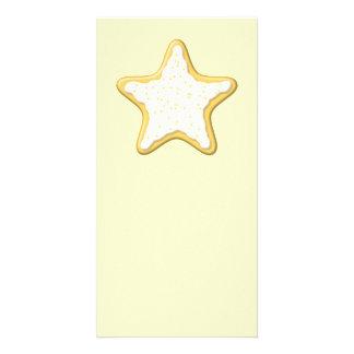 Iced Star Cookie. Yellow and Cream. Custom Photo Card