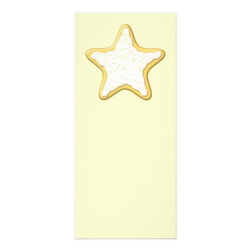 Iced Star Cookie. Yellow and Cream. Rack Card Design