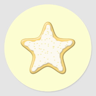 Iced Star Cookie. Yellow and Cream. Round Sticker
