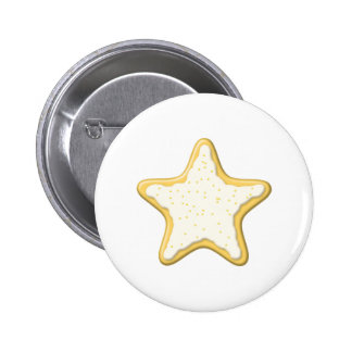 Iced Star Cookie Yellow and White Pin