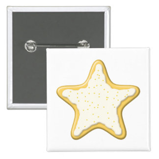 Iced Star Cookie. Yellow and White. Button
