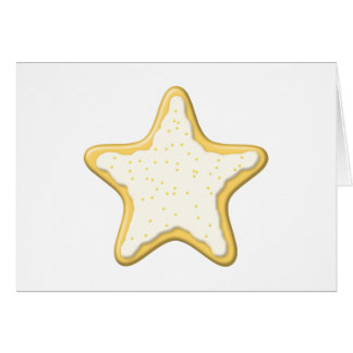 Iced Star Cookie. Yellow and White. Greeting Card