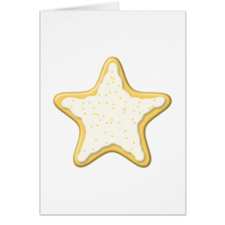 Iced Star Cookie. Yellow and White. Note Card