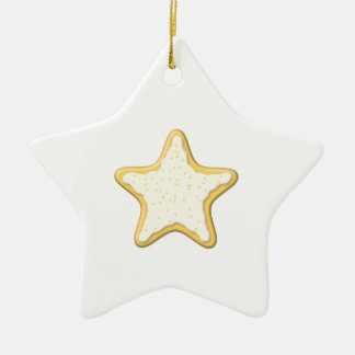 Iced Star Cookie Yellow and White Christmas Ornament