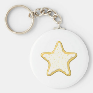 Iced Star Cookie. Yellow and White. Keychain