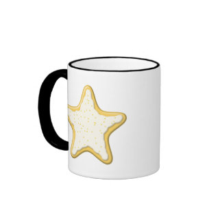 Iced Star Cookie. Yellow and White. Mugs
