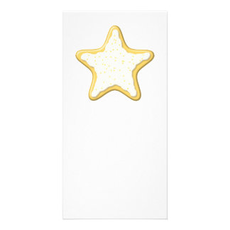 Iced Star Cookie. Yellow and White. Customized Photo Card