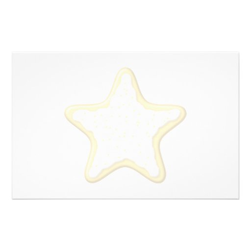 Iced Star Cookie. Yellow and White. Customized Stationery