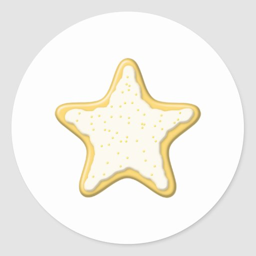 Iced Star Cookie. Yellow and White. Round Sticker